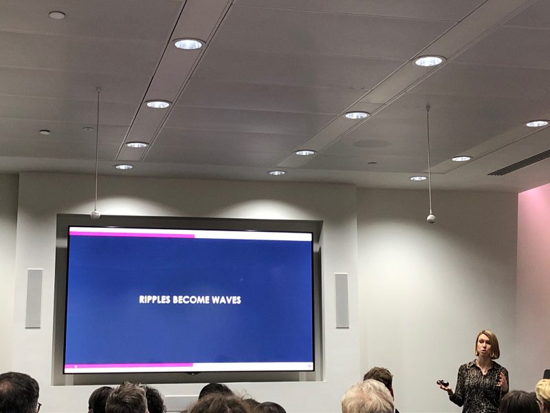 pauline robson of mediacom presenting at firefish's apg thinking around corners event 2019